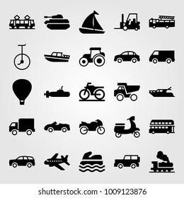 Transport vector icon set. sport bike, hot air balloon, fire truck and double decker bus