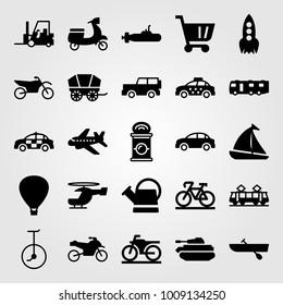 Transport vector icon set. sport bike, caravan, motorbike and police car