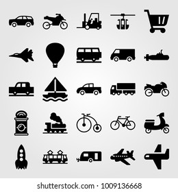 Transport vector icon set. train, sailboat, cart and cable car cabin