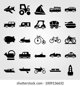 Transport vector icon set. truck, sport bike, tractor and sport car