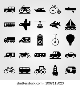 Transport vector icon set. unicycle, car, sailboat and rowing