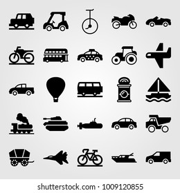 Transport vector icon set. unicycle, bus, air balloon and van
