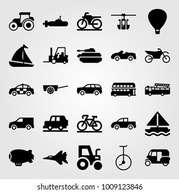 Transport vector icon set. unicycle, sport car, sport bike and car