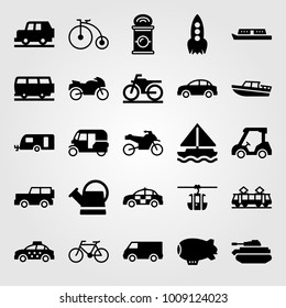 Transport vector icon set. van, car, taxi and sport bike
