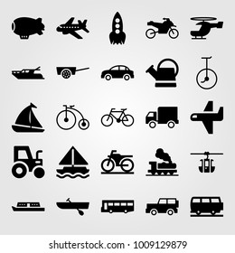 Transport vector icon set. watering can, sport bike, zeppelin and sailboat