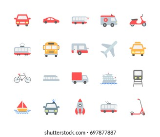 Transport vector icons, flat style