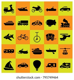 Transport vector icons set. boat, snowmobile and train