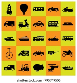 Transport vector icons set. bus, taxi and helicopter