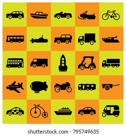 Transport vector icons set. cart, double decker bus and bicycle