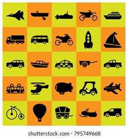 Transport vector icons set. golf, bicycle and rocket