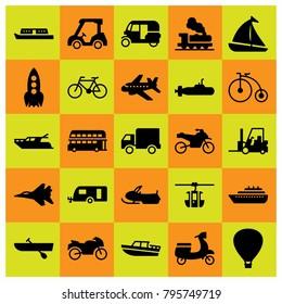 Transport vector icons set. hot air balloon, tuk tuk and snowmobile