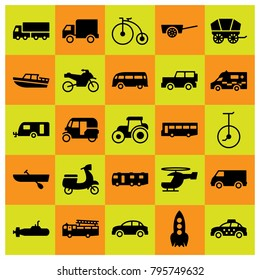 Transport vector icons set. lorry, cart and caravan