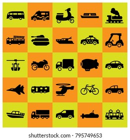 Transport vector icons set. motorbike, boat and bicycle