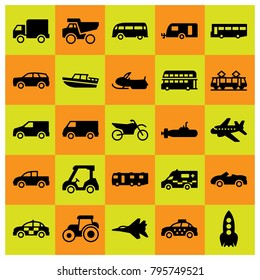 Transport vector icons set. pickup truck, sport car and aircraft