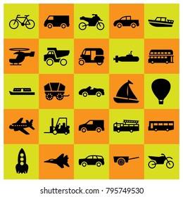 Transport vector icons set. pickup truck, air balloon and wagon