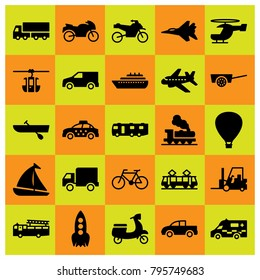 Transport vector icons set. pickup, bicycle and ship