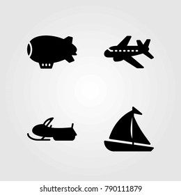 Transport vector icons set. sailboat, snow mobile and aeroplane