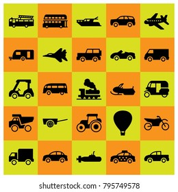 Transport vector icons set. sport bike, aircraft and tractor