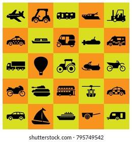 Transport vector icons set. submarine, motorcycle and tuk tuk