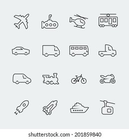 Transport vector icons set, thin line