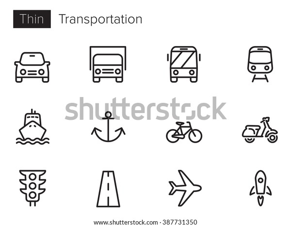 Transport vector icons set Thin line outline