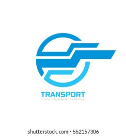 Transport - vector logo concept illustration. Abstract horizontal stripes in circle shape. Design element.