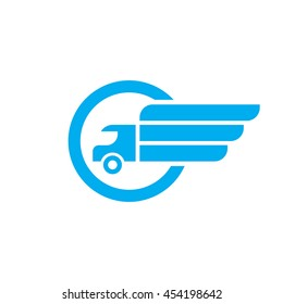 Transport - vector logo template. Abstract car truck silhouette with wing concept illustration. Delivery service sign. Design element.