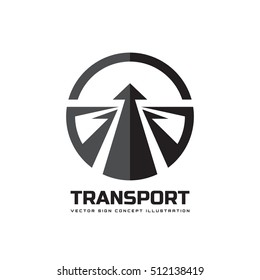 Transport - vector logo template concept illustration. Arrow on the abstract road creative sign. Transportation speed symbol. Design element.