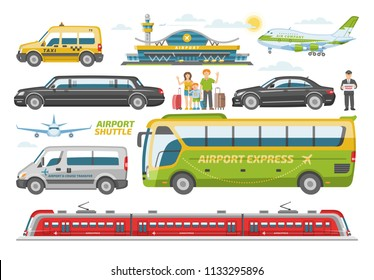 Transport vector public transportable vehicle bus or train and car for transportation in city illustration set of people and airplane in airport isolated on white background