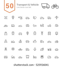 Transport & Vehicle Icon Set. 50 Line Vector Icons.
