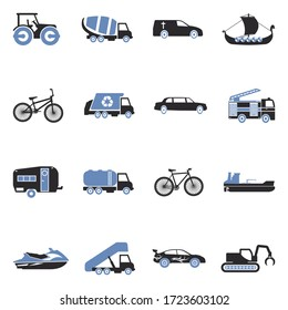 Transport And Vehicles Icons. Two Tone Flat Design. Vector Illustration.