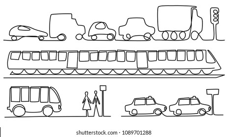 Transport vehicles one line drawing