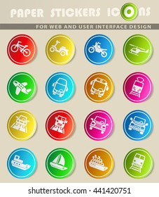 transport web icons for user interface design