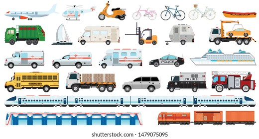 Transportable vehicle set of airplane, subway train, car, bicycle and truck for transportation in city. Transport vector public set of ambulance fire-engine and police car isolated on white background