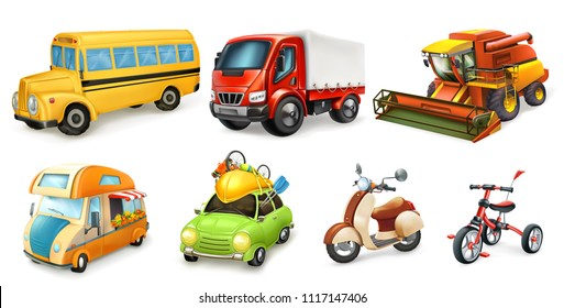 Transportation 3d vector icon set. Bicycle, scooter, car, van, combine, truck, bus