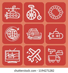 Transportation, airplane, world, televisions, submarine, submarine hatch icon set suitable for info graphics, websites and print media and interfaces