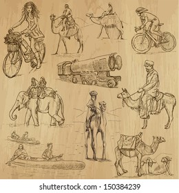 Transportation around the World (part 1). Collection of hand drawn illustrations (originals, no tracing). Description: Each drawing comprise of two layers of outlines, colored background is isolated.