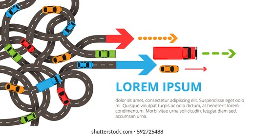 Transportation banner with a lot of cars, trucks, twisted roads, arrows. Vector illustration with a lot of winding roads in modern flat style.