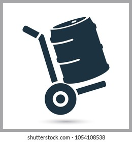 Transportation of beer keg simple icon