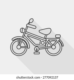 Transportation bicycle flat icon with long shadow, line icon