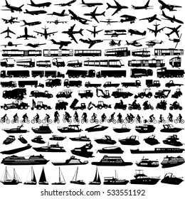 transportation big collection silhouettes - vector