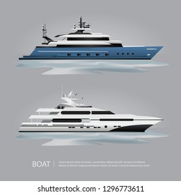Transportation Boat Tourist Yacht to Travel Vector Illustration