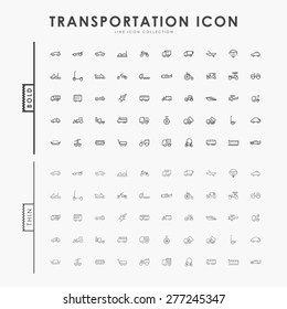 transportation bold and thin outline icons