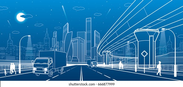Transportation bridge. Wide highway. Road overpass. Urban infrastructure, modern city on background, industrial architecture. People walking. Truck rides. White lines, night scene, vector design art