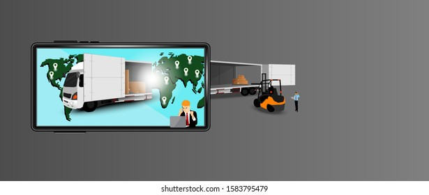 transportation business illustration and online marketing systems