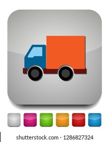 transportation car - pickup truck, delivery van truck, lorry icon - Cargo van illustration