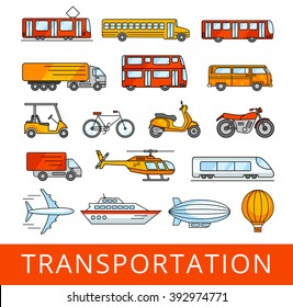 Transportation, cars and various vehicles. City transport collection. A set of vector color illustrations.