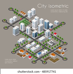Transportation city streets intersection with houses and trees. Isometric view from above on a urban transport