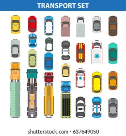 Transportation colorful collection on white vector flat picture