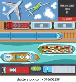 Transportation Colorful Icons Set. Top View. Flat lay Style.